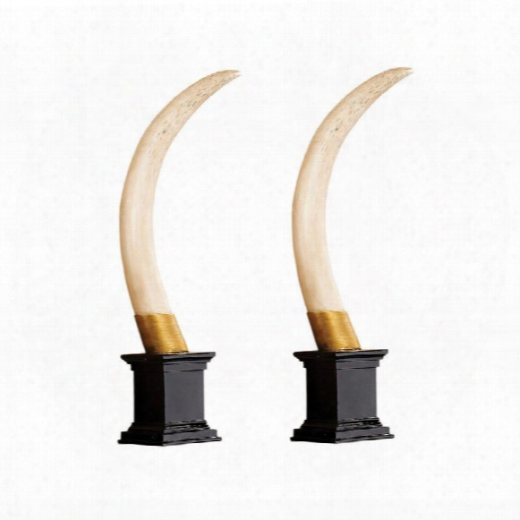 British Colonial Elephant Tusk Sculptural Trophy: Set Of Two