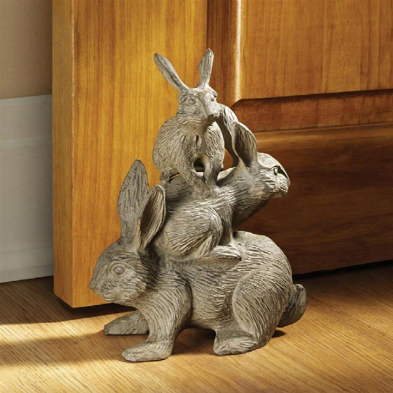 """Bunched Bunnies"""" Cast Iron Rabbit Statue"""