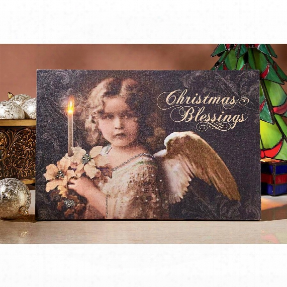 Christmas Blessings Angel Illuminated Canvas Wall Hanging