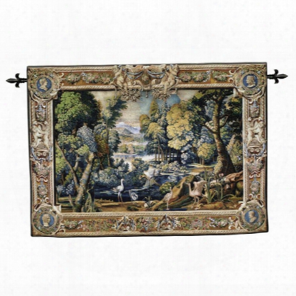 Classic French Landscape Wall Tapestry: Wool & Cotton