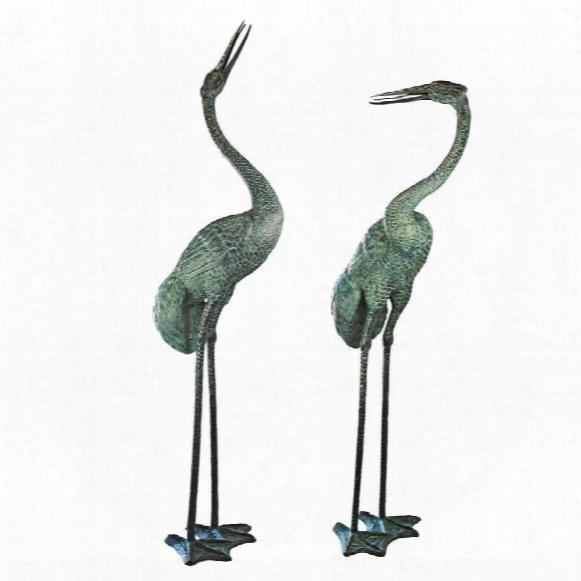 Colossal Cranes Bronze Garden Statue Set