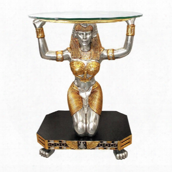 Egyptian Goddess Ma'at: Glass-topped Console Table