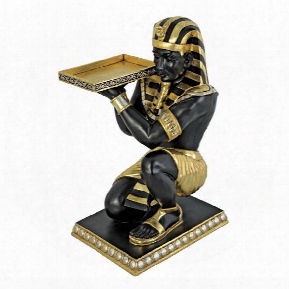 Egyptian Pharaoh's Kneeling Nubian Servant: Egyptian Side Table Statue