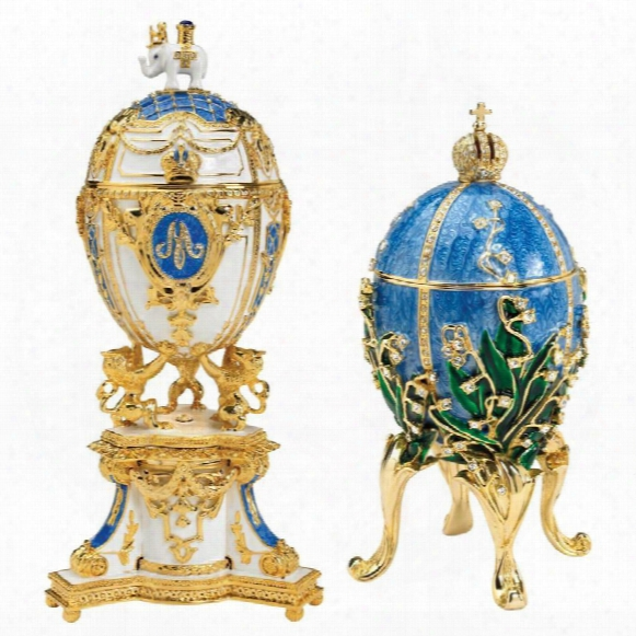 Empress Valentina And Empress Galina Faberge-style Collectible Enameled Eggs