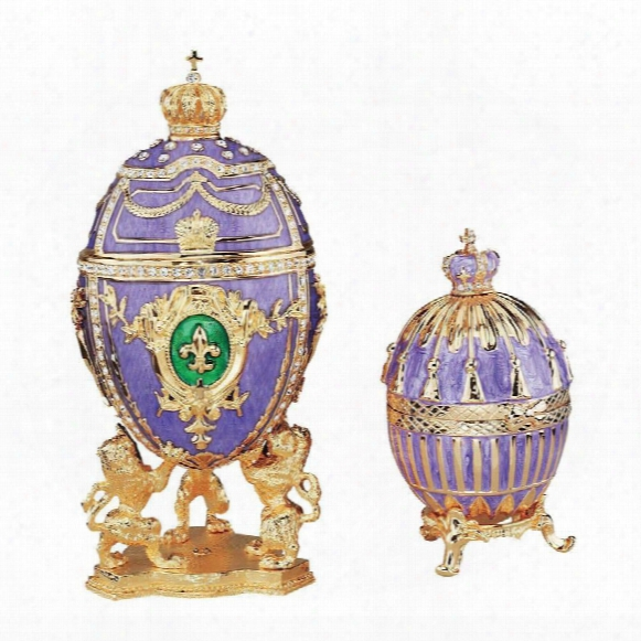Faberge-style Collectible Eggs: Set Of Tassel & Fleur-de-lis