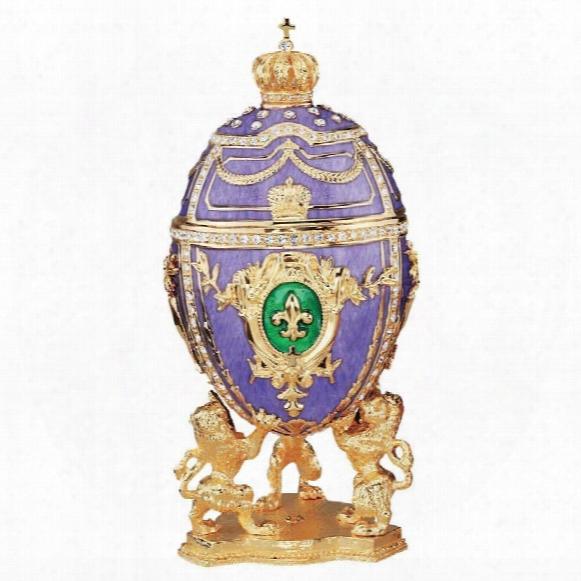 Faberge-style Fleur-de-lis Enameled Egg
