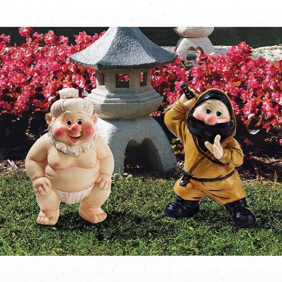 Far East Garden Fighters Gnome Statue Set: Sumo & Ninja