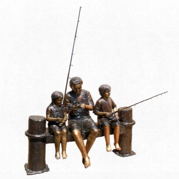 Fishing Family Cast Bronze Garden Statue