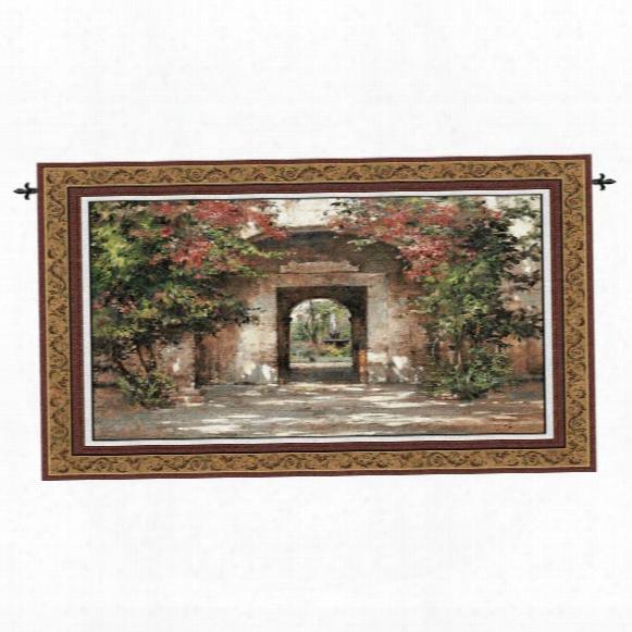 Flowe Red Doorway Landscape Wall Tapestry