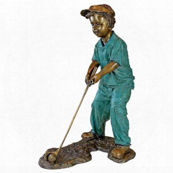 Gabe The Boy Golfer Cast Bronze Garden Statue