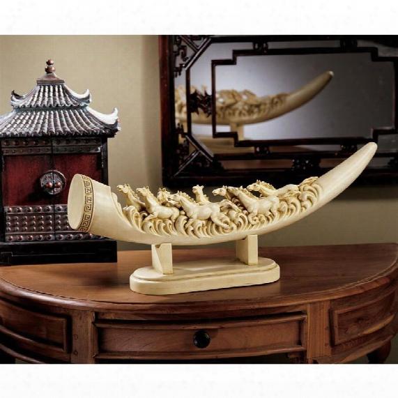Galloping Horses Sculptural Oliphant Tusk