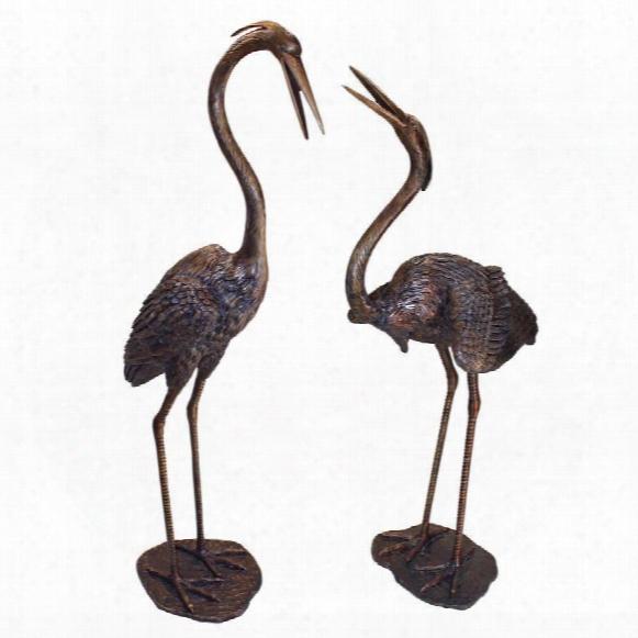 Grande Heron Cast Bronze Garden Statue Set