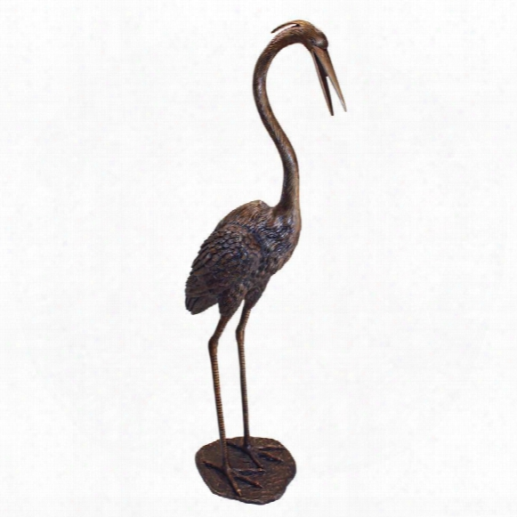 Grande Heron Head High Cast Bronze Garden Statue