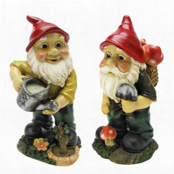 Gulliver And Mushroonie Garden Gnome Statues