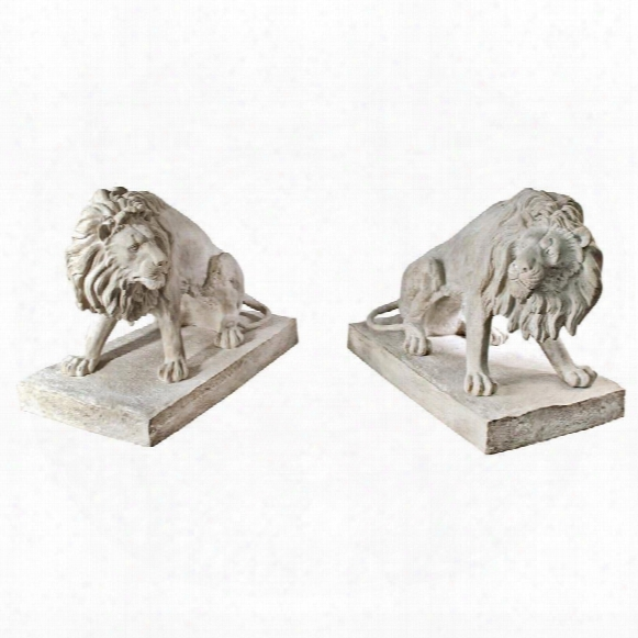 Kingsbury Garden Giant Lion Sentinel Statues: Set Of Two