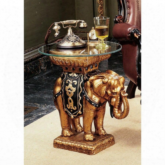 Maharajah Elephant Glass-topped Sculptural Table