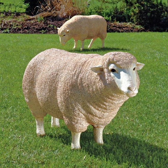 Merino Ewe Life-size Sheep Statue: Head Up
