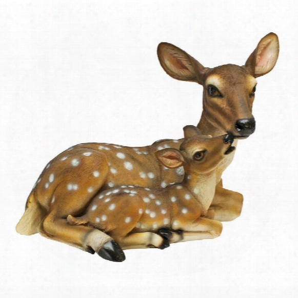 Mothers Love, Doe And Fawn Sculpture