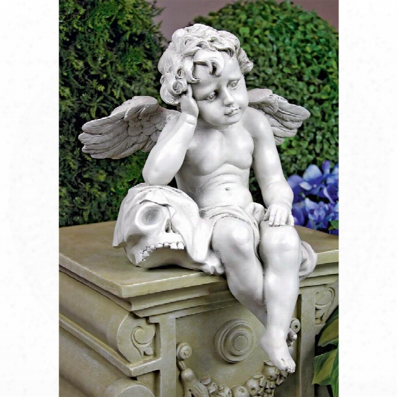 Mourning Mortality Sitting Cherub Sculpture
