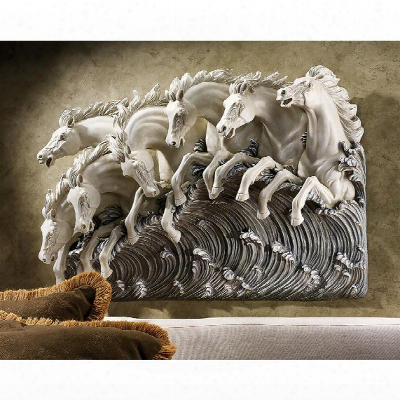 Neptune's Horses Of The Sea Sculptural Wall Frieze