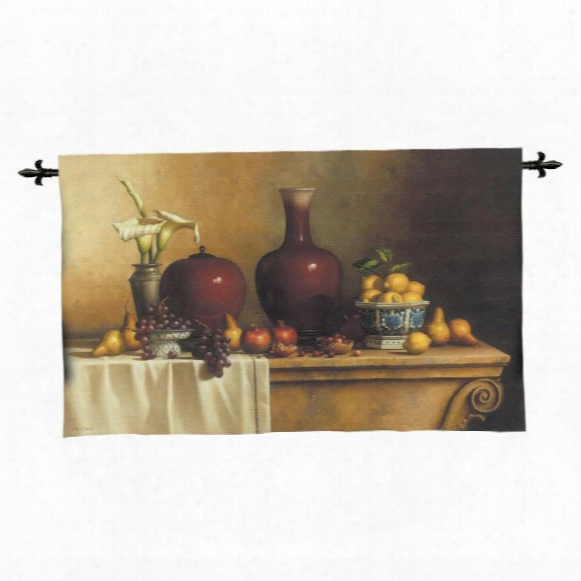 Oriental Still Life With Lilies Wall Tapestry: Large