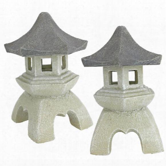 Pagoda Lantern Sculpture: Set Of Two Medium