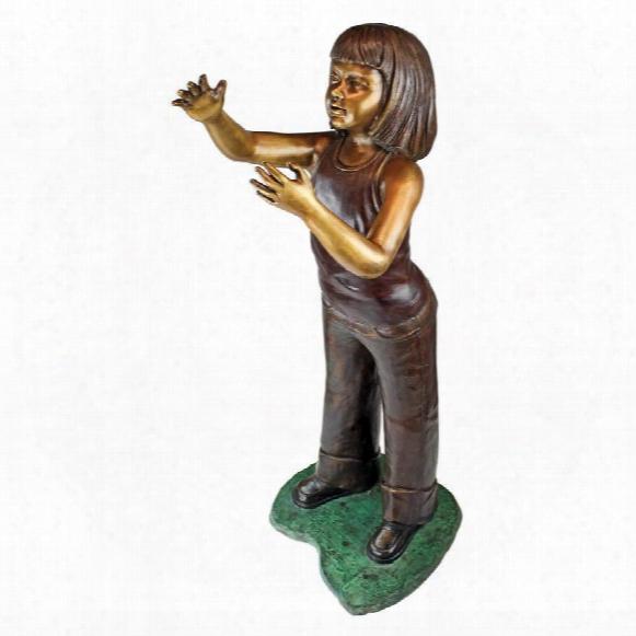 Preening Equestrian Girl Cast Bronze Garden Statue