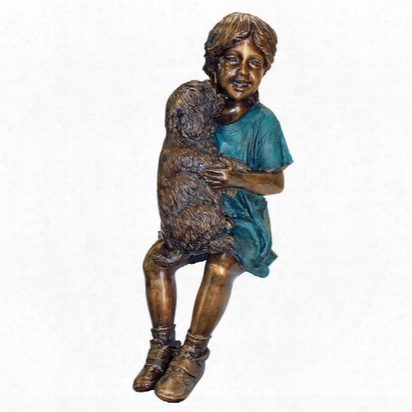 Puppy Kisses, Sitting Girl Cast Bronze Garden Statue