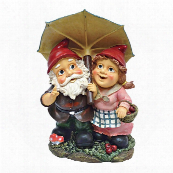 Rainy Day Gnomes Under An Umbrella Garden St Atue