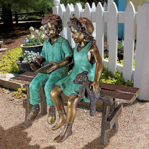 Read To Me, Boy And Girl On Benchcast Bronze Gardn Statue