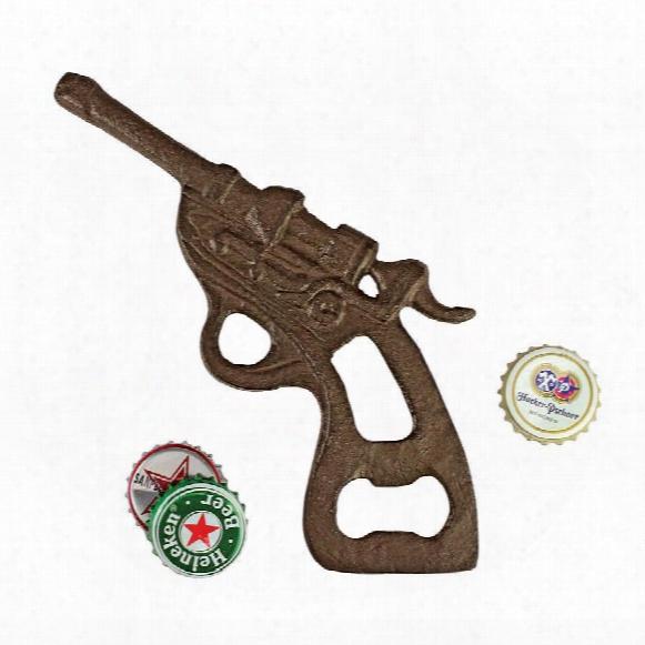 Repeating Revolver Cast Iron Gun Bottle Opener