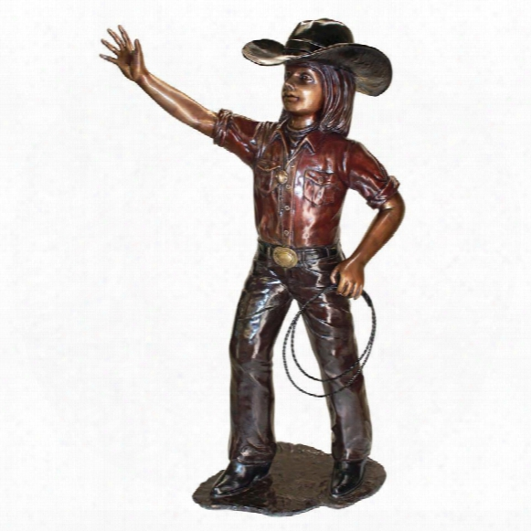 Rodeo Dreams: Cowgirl Cast Bronze Garden Statue