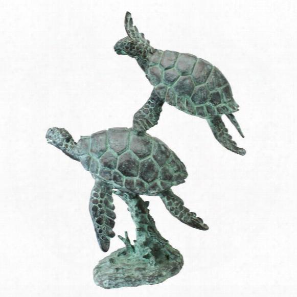 Sea Turtles Bronze Garden Statue