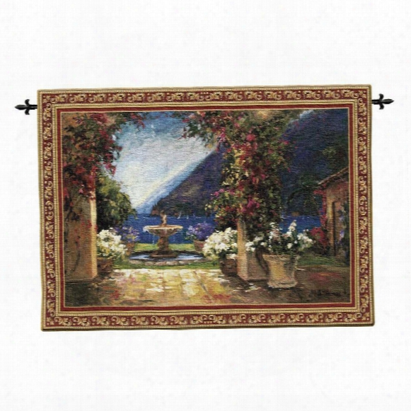 Seaside Fountain Landscape Wall Tapestry: Large