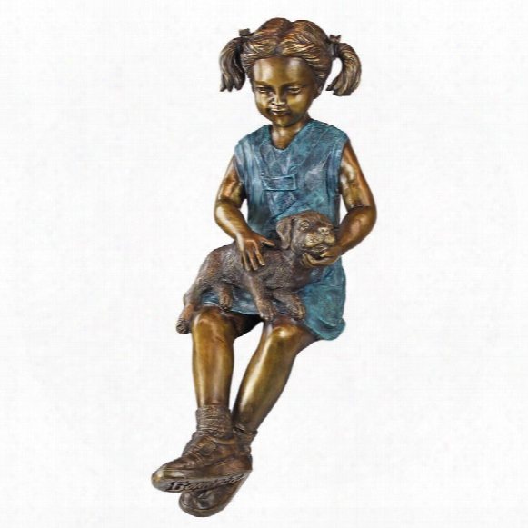 Sitting Savannah, Girl With Dog Cast Bronze Garden Statue