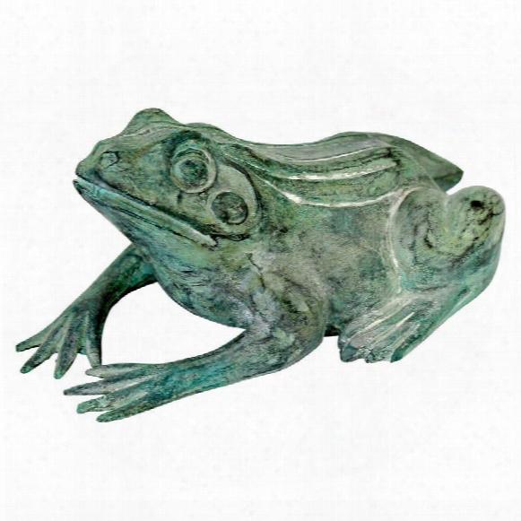 Small Bull Frog Cast Bronze Garden Statue