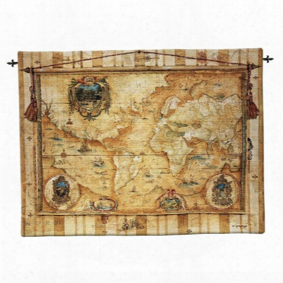 Souvenirs Des Voyaeg: Old World Map Wall Tapestry