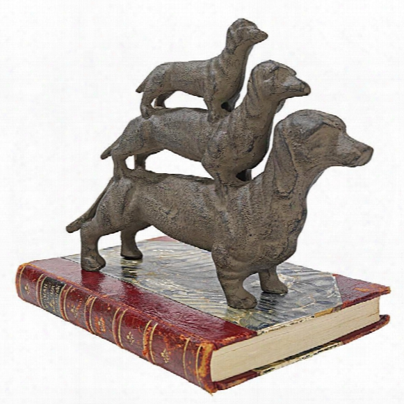 "Stacked ""hot Dogs"" Dachshund Cast Iron Statue"