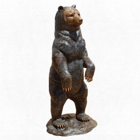 Standing Black Bear Cast Bronze Garden Statue