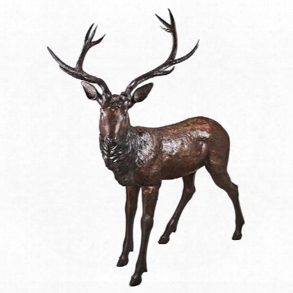 Standing Deer Buck Cast Bronze Garden Statue