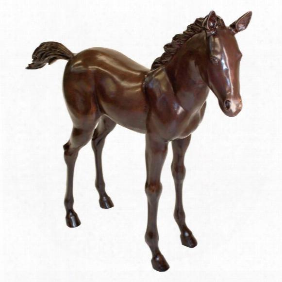 Standing Horse Foal Cast Bronze Garden Statue