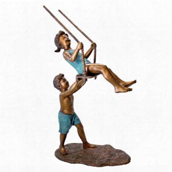 Swinging Children Solid Cast Bronze Garden Statue