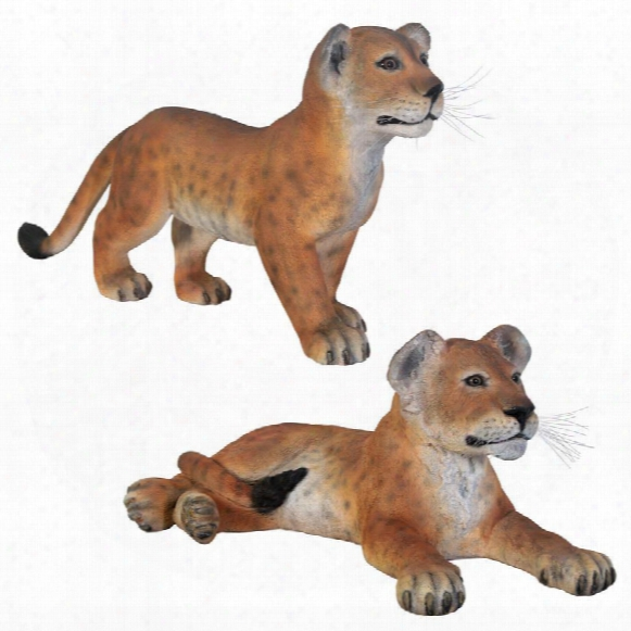 The Grand-scale Wildlife Animal Collection Lion Cub Statue Set: Standing And Lying Down