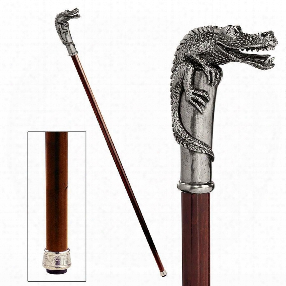 The Padrone Collection: Alligator Pewter Walking Stick