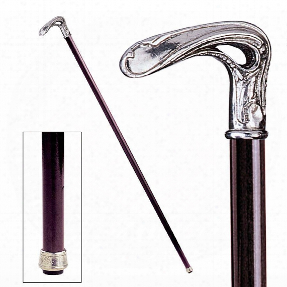 The Padrone Collecyion: Art Nouveau Half Crook Pewter Walking Stick