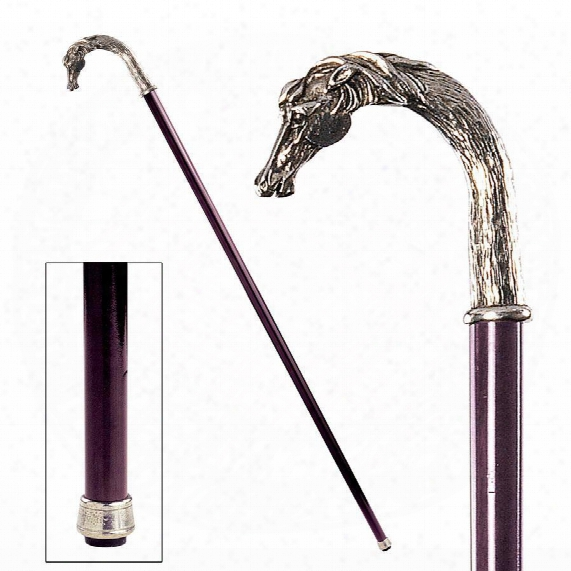 The Padrone Collection: Equestrian Stallion Horse Pewter Walking Stick