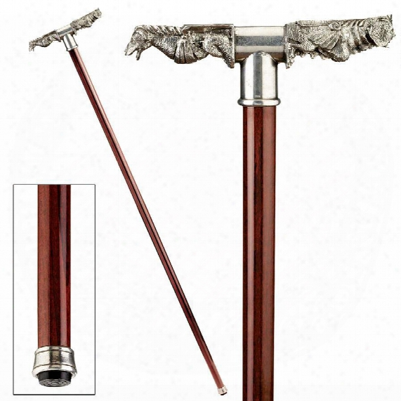 The Padrone Collection: Gargoyle Rainspout Pewter Walking Stick