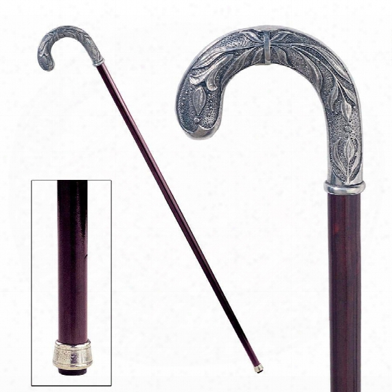 The Padrone Collection: Parisian Dandy Crook Handle Pewter Walking Stick