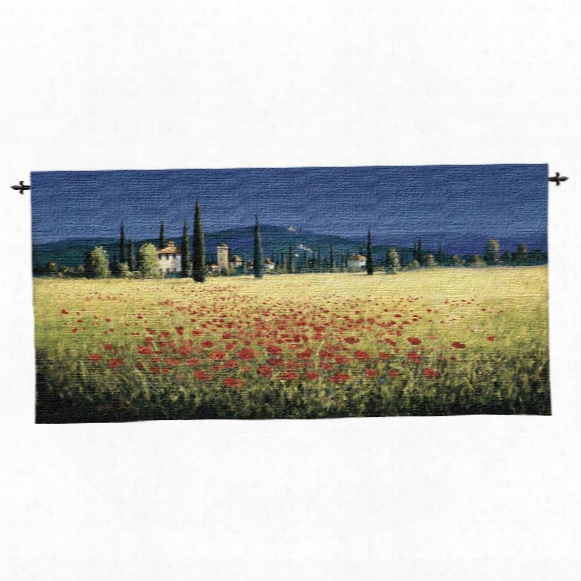 Tuscan Panorama Poppies Wall Tapestry