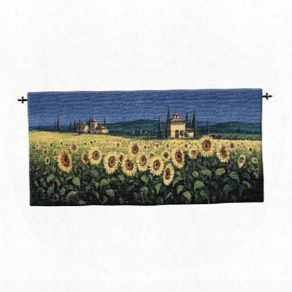Tuscan Panorama Sunflowers Wall Tapestry